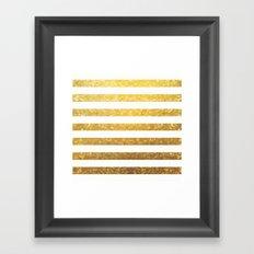 White and Gold Stripes  Framed Art Print