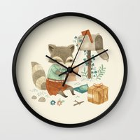 raccoon Wall Clocks featuring Raccoon Post by Teagan White