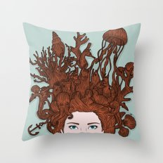 HAIR IN WATER Throw Pillow