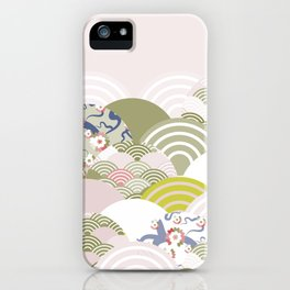 scales simple Nature background with japanese sakura flower, rosy pink Cherry, wave circle pattern iPhone Case