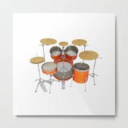 Orange Drum Kit Metal Print