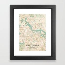 Amsterdam, Netherlands - Vintage Map Framed Art Print