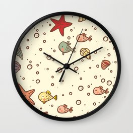 Cute Vintage Style Sea life Seamless Pattern Wall Clock