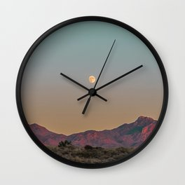 Sunset Moon Ridge // Grainy Red Mountain Range Desert Landscape Photography Yellow Fullmoon Blue Sky Wall Clock