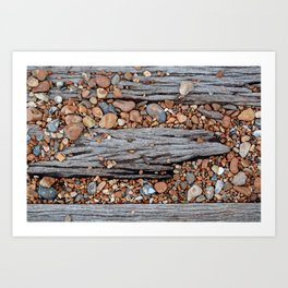 Wood And Pebbles Art Print