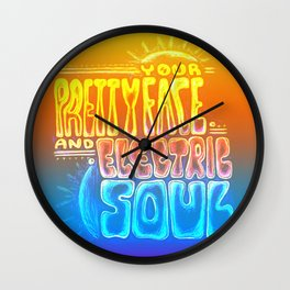 """Your Pretty Face and Electric Soul"" by RenPenCreations Wall Clock"