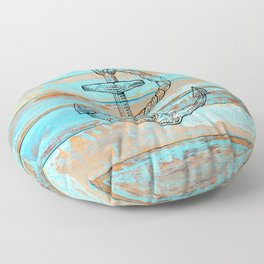 Naval Ship Anchor Teal Blue Chipped Paint Barnboard Floor Pillow
