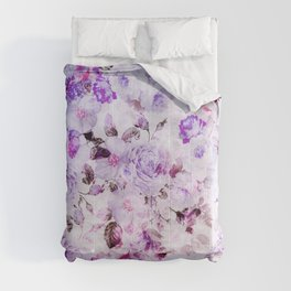 Shabby vintage lavender violet watercolor floral Comforters