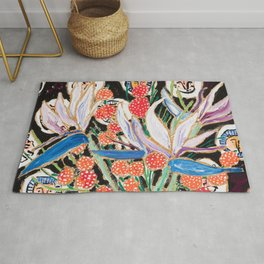 Lions and Tigers Dark Floral Still Life Painting Rug