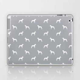 Great Dane dog breed pattern minimal simple grey and white great danes silhouette Laptop & iPad Skin
