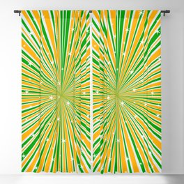 Green Orange And White And Rays Background With Stars Blackout Curtain