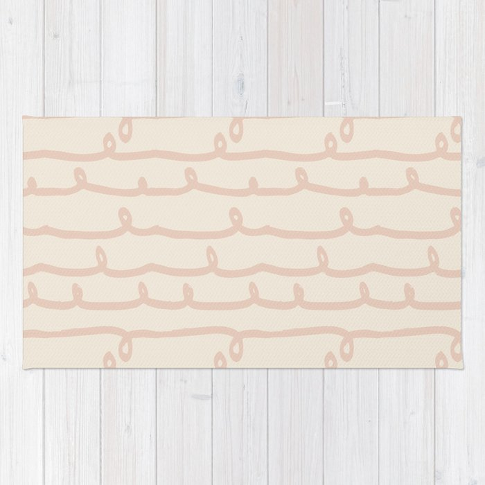 Vine Stripes Vintage Pink On Rose Petal Cream Rug