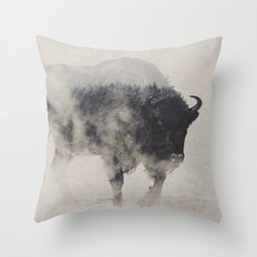 Bison In The Fog Throw Pillow
