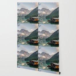 Mountain Lake Cabin Retreat Wallpaper