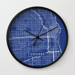 Chicago Map, USA - Blue Wall Clock