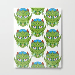 The happy red horn green demon Metal Print