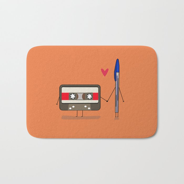 Love: cassette and pen Bath Mat