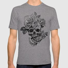 Black and White skull with roses pen drawing T-shirt