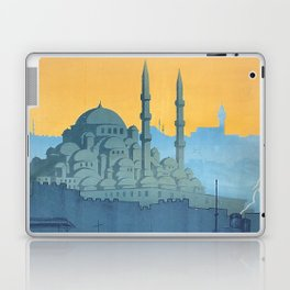 Mid Century Modern Travel Vintage Poster Istanbul Turkey Grand Mosque Laptop & iPad Skin