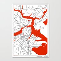 boston map Canvas Prints featuring Downtown Boston Map by Studio Tesouro