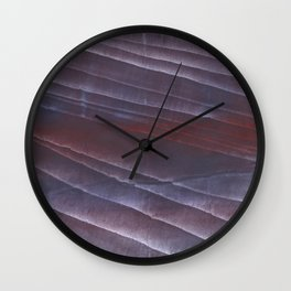 Dark purple striped wash drawing Wall Clock