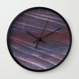 Dark purple striped wash drawing Wall Clock