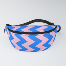 Cotton Candy Pink and Brandeis Blue Vertical Zigzags Fanny Pack