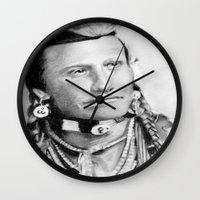 native american Wall Clocks featuring Native American by chomaee