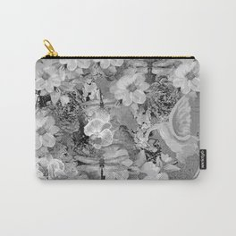 PARROTS MAGNOLIAS ROSES AND HYDRANGEAS TOILE PATTERN IN GRAY AND WHITE Carry-All Pouch