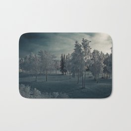 Gloomy Snow Trees Bath Mat