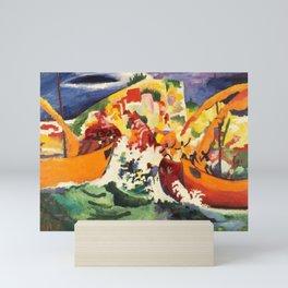12,000pixel-500dpi - August Macke - Sea Battle of indigenous people - Digital Remastered Edition Mini Art Print
