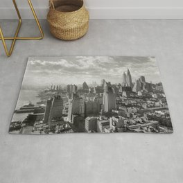 East River Waterfront, Empire State and Manhattan NYC Skyline black and white photograph Rug