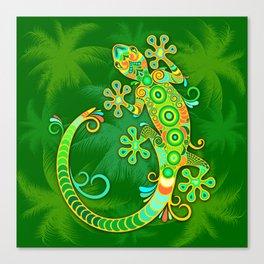Gecko Lizard Colorful Tattoo Style Canvas Print