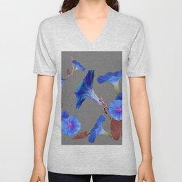 Grey Color Blue Morning Glory Art Design Pattern Unisex V-Neck