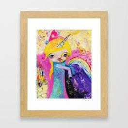 Unicorn Rainbow Girl Framed Art Print