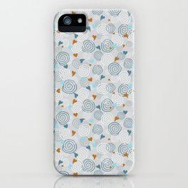 Cinnamon Swirls and Hearts - Gray-Blue-Caramel iPhone Case