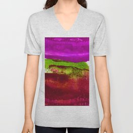 Encaustic Abstract No.27J by Kathy Morton Stanion Unisex V-Neck