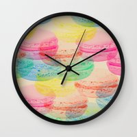 macaroon Wall Clocks featuring Macaroon Madness by Tyler Spangler