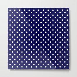 White & Blue Navy Polkadot Pattern Metal Print