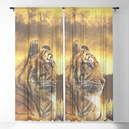Tiger and Sunset Sheer Curtain