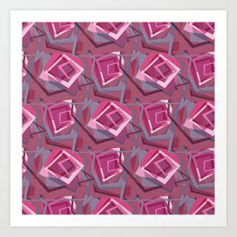 Unravelled Pink and Grey Art Print
