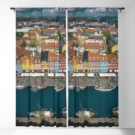 Colorful houses of Copenhagen Blackout Curtain