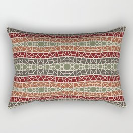 Mosaic Wavy Stripes in Olive, Terracotta, Burgundy and Brown Rectangular Pillow
