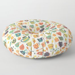 Vintage tea party - tea cups and sweets beige Floor Pillow