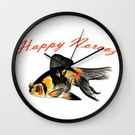 Happy Norooz Demekin Goldfish Persian New Year Wall Clock