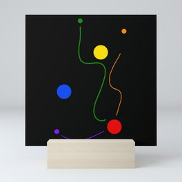 Dots and Lines of Freedom on Black Background  Mini Art Print
