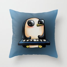 Penguin With Keyboard Throw Pillow