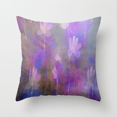 Painterly Dancing Violets Abstract Throw Pillow