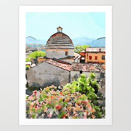 Tortora convent with flowering trees Art Print