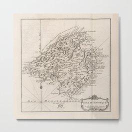 Vintage Mallorca Spain Map (1764) Metal Print